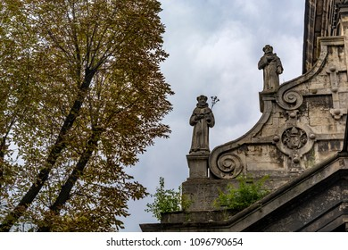 Sculptures on the roof of the old church in Lvov. Bernardine church, Historic Centre of Lviv, Ukraine.