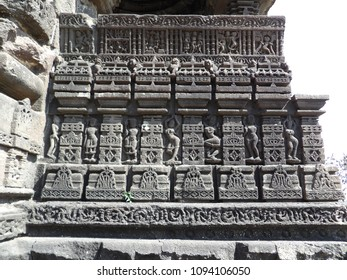 Sculptures panel at Gondeshwar temple, India