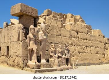 Sculptures of the pharaohs at Karnak temple, Luxor Egypt