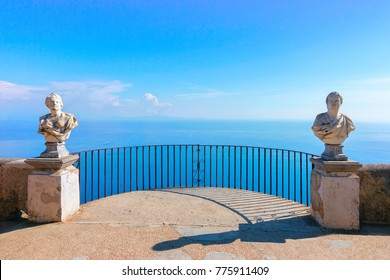 Sculptures at the terrace in Ravello village, Tyrrhenian sea, Amalfi coast, Italy