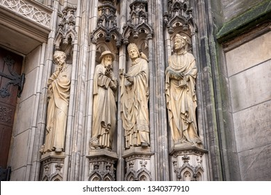 Sculptures that adorn the facade of the St Lambert's Church in Munster, Germany