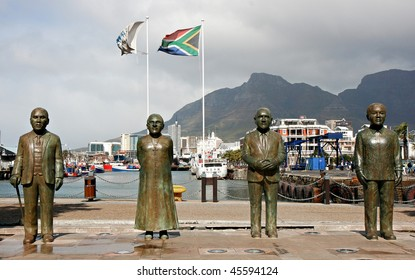 Sculptures at the waterfront, Cape Town, South Africa. The late Chief Albert Luthuli, Archbishop Emeritus Desmond Tutu, former president FW de Klerk, plus Nelson Mandela