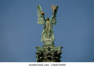 Scuplture of Gabriel archangel in Budapest, Heroes' Square