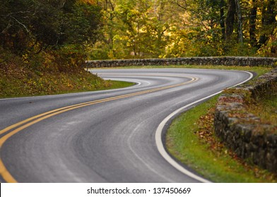 S-curve road on Skyline Drive, tucked into the blue ridge mountains in Shenandoah National Park, Virgina.