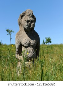 Scythian stone women.Ancient sculptures. Human figures in the steppe.