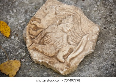 Scythians artifact of ancient frescoes. bas-relief of Babylon. fragments of sculptures of Christian temple ancient culture. Elements of heritage of Greece. Greek culture BC Excavations of ancient city