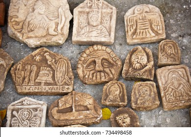 Scythians artifact of ancient frescoes. bas-relief of Babylon. fragments sculptures of  Christian temple ancient culture. Elements of heritage of Greece. Greek culture BC Excavations of ancient city