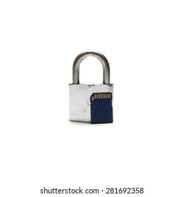 sd card lock isolated on white background