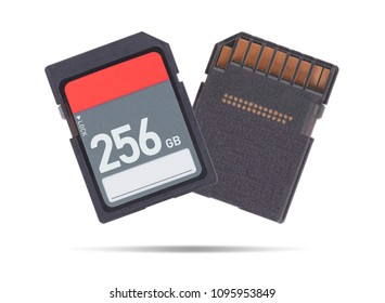 SD Memory card isolated on white background - 256 Gigabyte