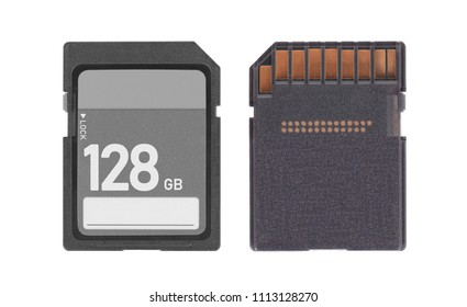 SD Memory card isolated on white background - 128 Gigabyte