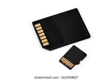 SD and microSD cards on the white background macro