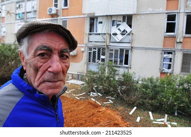 SDEROT, ISR - FEB 18 2008:Palestinian rocket hits Israeli building.Since 2001 over 15,000 rockets hit Israel killed 28 injured 1900 people widespread psychological trauma and disruption of daily life.