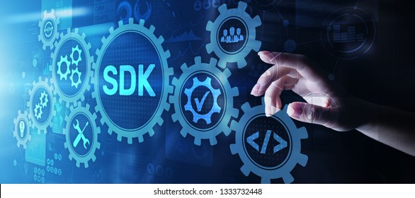 SDK Software development kit programming language technology concept on virtual screen.