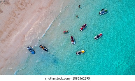 Sea Aerial view and top view, amazing nature background.The color of the water and beautifully bright.Azure beach with rocky mountains and clear