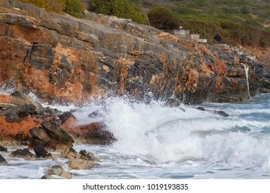 Sea after the storm near to Elounda on Crete, Greece