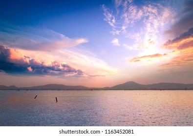 Sea autumn sunset background