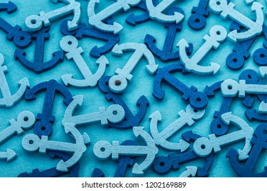sea background from decorative color anchors closeup