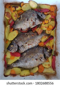 Sea bream baked in the oven.