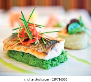Sea bass, with minted pea roots. Prepared with a special presentation grilled fish.