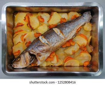 Sea bass roasted in the oven.