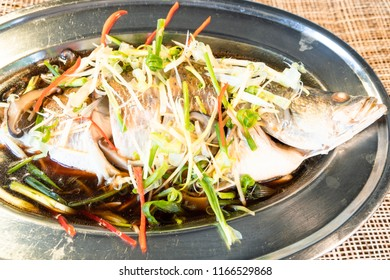 Sea bass steamed in soy sauce.Thai Foods.