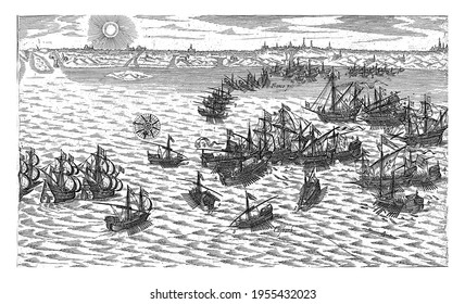 Sea battle in which the eight galleys of Spinola are defeated by the fleet of Joos de Moor, vintage engraving.