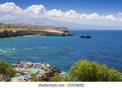 Sea bay and the beach of the village of Panormas, the island of Crete, Greece