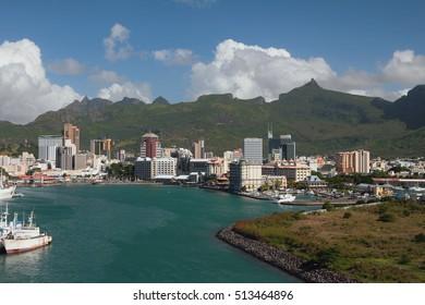 Sea bay and city. Port Louis, Mauritius