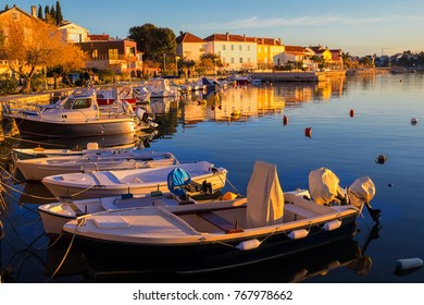 Sea bay with yachts at sunset. Croatia.