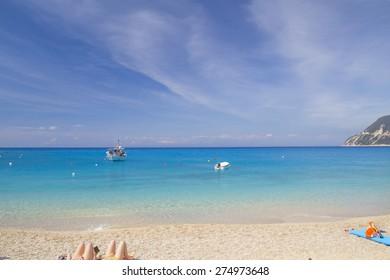 sea beach background - greek island  Lefkada - blue sky clouds