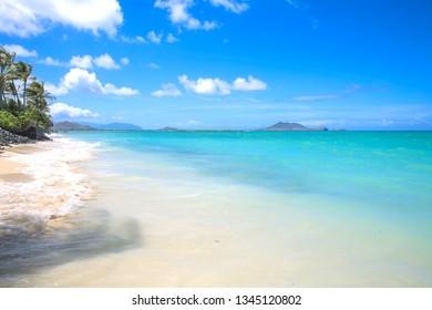 Sea Beach Blue Sky Lanikai Beach Kailua Oahu Hawaii