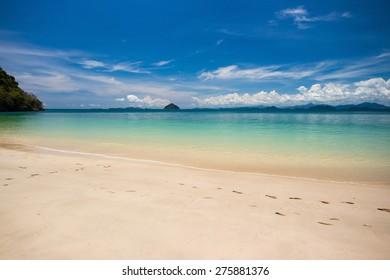 sea beach blue sky at Ranong, Thailand