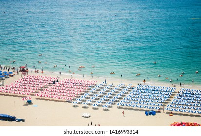 sea beach blue sky sand sun daylight relaxation landscape viewpoint in Haeundae beach in summer at Busan in Korea