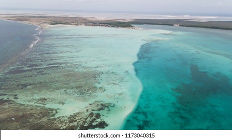 sea beach coast Bonaire island Caribbean sea aerial drone top view