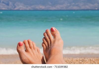 Sea beach feet holidays