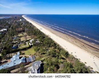 Sea beach in Jurmala, Latvia from quad copter.