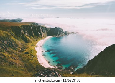 Sea beach landscape in Norway idyllic aerial view summer travel vacations nature scenery seaside and mountains