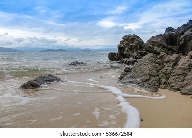 sea and the beach in Thailand , select focus stone