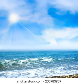 sea beach under beautiful solar summer sky