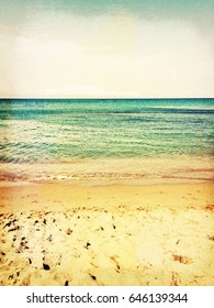 Sea and beach. Vintage style photo with paper texture.