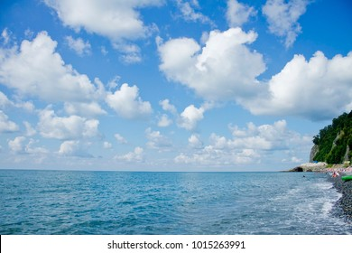 Sea and beautiful clouds in the sky in wthe warm sunny day in the sammer