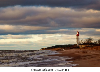 Latvia.PapÄ? at sea is a beautiful old lighthouse