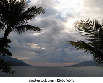 Sea between Ilhabela y Brazilian mainland at twilight/sunset