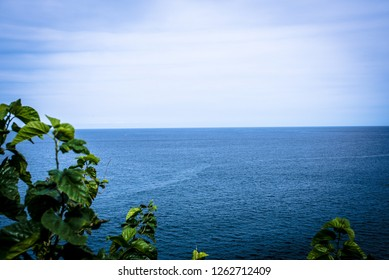 Sea beyond the horizon  It was photographed on September 24, 2018 in the East Sea of Korea. The horizon where the sky and the sea meet is remarkable.
