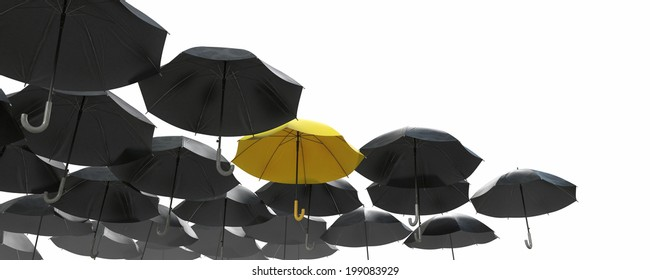 A sea of black umbrella but the yellow one standing out. Image isolated on white background