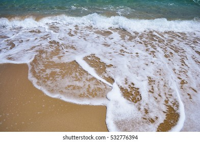 Sea blue bottom summer wave background. Vacation relax on the beach. The beautiful sandy beach of the Mediterranean Sea clean. Beautiful photo.