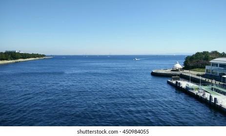 Sea and blue sky at Sea paradise Japan.