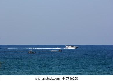 sea, boat, jet ski