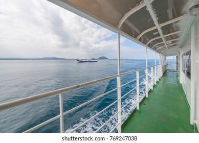 Sea boat Ship deck sea