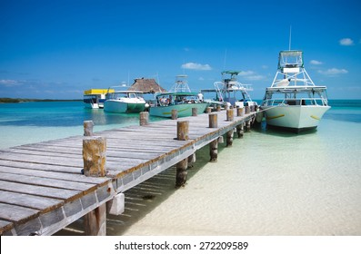 Sea boats at the Contoy island in the Caribbean sea